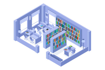 School or university isometric library bookshelves and bookcases inter