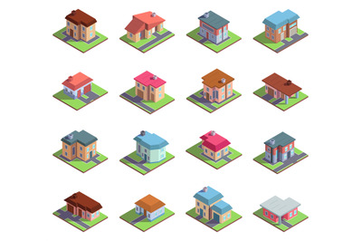 Isometric 3d modern residential suburban or city houses. Country cotta