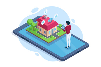 Isometric smart house security workspace technology concept. Smart hou