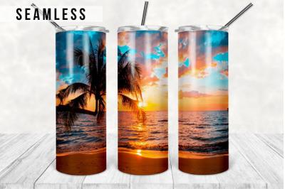 Beach Sunset Tumbler Design, Summer 20 oz Skinny Tumbler Sublimation