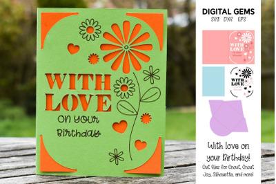 With love birthday card design