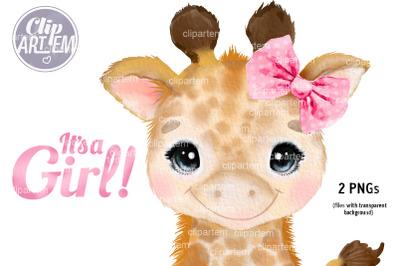 Girl Giraffe with Pink Polka Bow Watercolor 2 PNG clip art