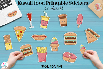 Kawaii food Printable Stickers. 12 cute food stickers. JPEG. PDF, PNG