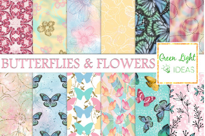 Butterfly and Flowers Digital Papers, Spring Backgrounds