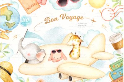 Bon Voyage Watercolor Clip Arts
