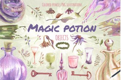Potion bottles. Magic glasses, keys, floral objects.