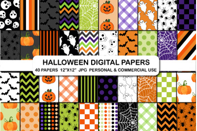 Halloween digital papers, Halloween pattern background papers