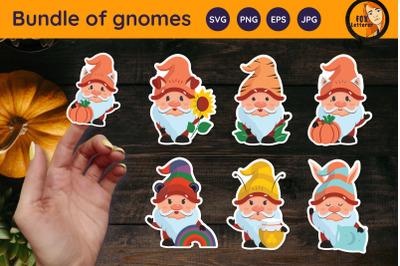 Happy fall gnomes. Autumn stickers