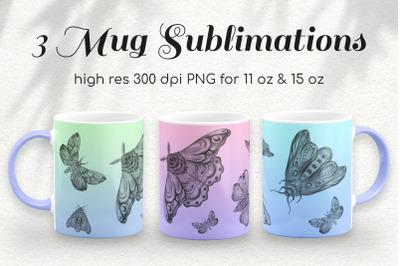 3 Gradient Moths 11 & 15 Oz Coffee Mug Sublimations