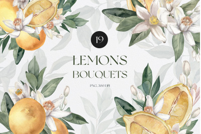 Watercolor Lemon Bouquets