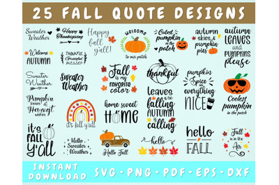 Fall SVG Bundle - 25 Designs, Fall Cut Files Cricut & Silhouette
