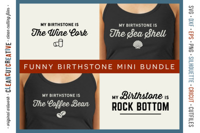 Funny Birth Stone Sayings - Mini Bundle of 4 SVG designs for crafters