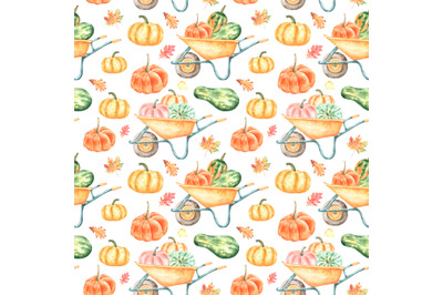 Harvest pumpkins watercolor seamless pattern. Thanksgiving. Farmhouse