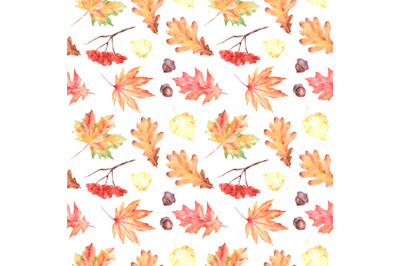 Autumn leaves watercolor seamless pattern. Fall. Thanksgiving.