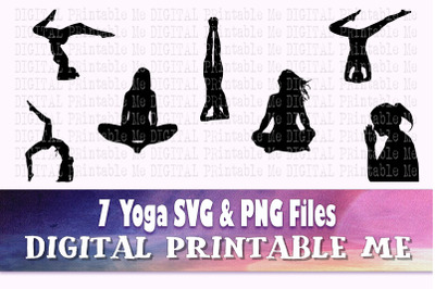 Yoga svg, woman silhouette bundle, health fitness PNG, clip art, 7 Dig