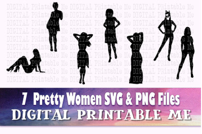 Pretty Woman svg, Sexy lady silhouette bundle, PNG clip art, 7 seducti