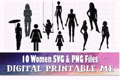 Woman svg, lady silhouette bundle, PNG clip art, 10 women full body im