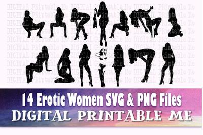 Erotic Woman svg, Sexy lady silhouette bundle, PNG clip art, 14 seduct