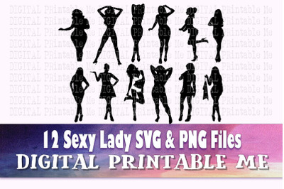 Sexy Woman svg, lady standing, silhouette bundle, PNG clip art, 12 sed