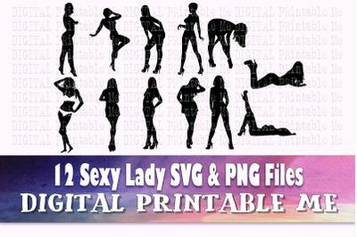Sexy Woman svg, lady variety, silhouette bundle, PNG clip art, 12 sedu