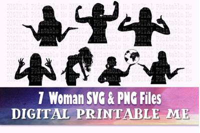 Woman svg, lady silhouette bundle, PNG clip art, 7 women waist up imag