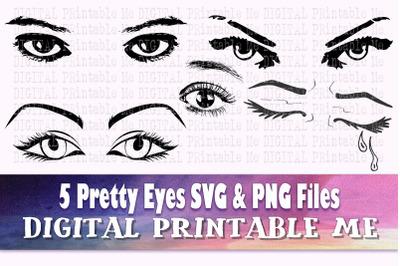 Eyes svg, Lady Eyelashes silhouette bundle, Makeup PNG, clip art, 5 Di