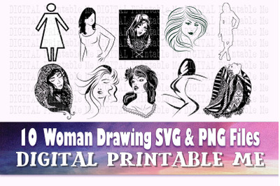 Woman svg, line art lady, modern illustrations, png bundle, clip art p