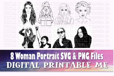 Realistic Woman svg, line art lady, modern illustrations, png bundle,