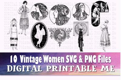 Vintage Woman svg, art nouveau png bundle, floral lady illustrations,