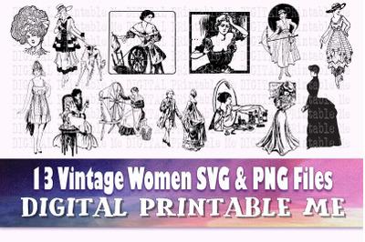 Vintage Woman svg, art nouveau png bundle, 13 floral lady illustration