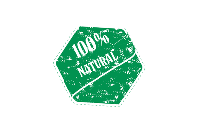 Rubber stamp of natural product, green print vector