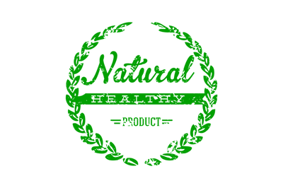 Natural healthy product stamp to mark goods