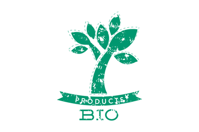 Bio product stamp with green tree and ribbon