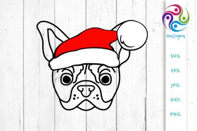 Bulldog With Christmas Hat SVG File