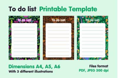 To do list planner printable template