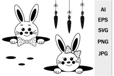 Hares boy and girl SVG format