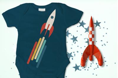 Retro Rocket Ship | SVG | PNG | DXF | EPS