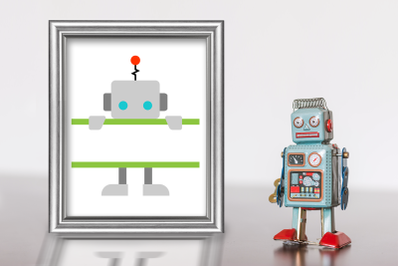 Peeking Robot Split | SVG | PNG | DXF | EPS