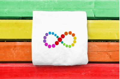 Mini Autism Infinity Spectrum Rainbow | Embroidery
