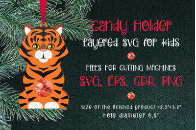 Tiger Christmas Ornament Candy Holder Template SVG
