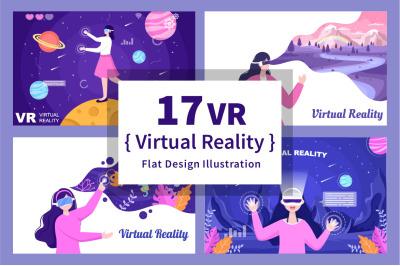 17 VR Glasses Virtual Reality Vector Illustration