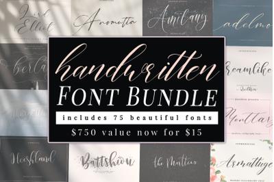 Hand Written Font Bundle 75+