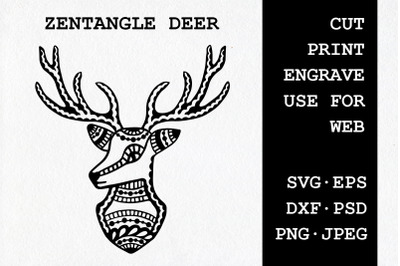 Zentangle Deer | SVG DXF EPS PSD PNG JPEG