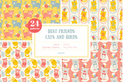 Best Friends - Cats and Birds Vector Patterns