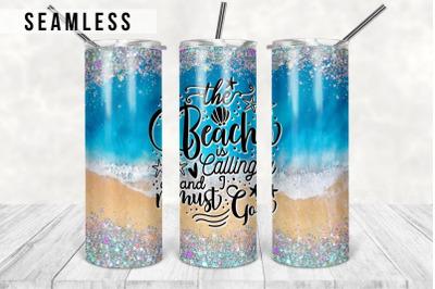 Beach Glitter 20oz Tumbler Design Template