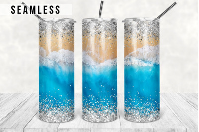 Glitter Beach Tumbler sublimation design wrap tapered & straight PNG