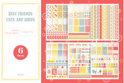 Best Friends - Cats and Birds Planner Stickers