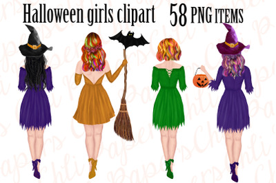 Halloween girls clipart, Witches clipart, Halloween graphics