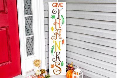 Give Thanks vertical porch sign svg, fall vertical porch