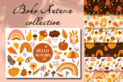 Boho abstract autumn set